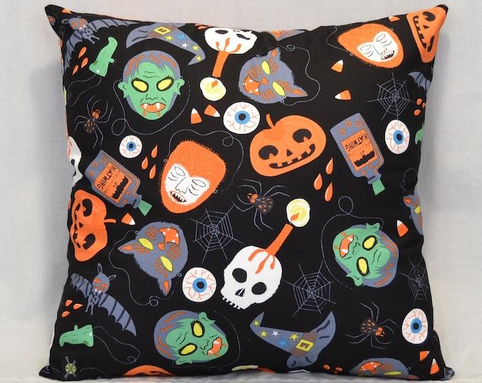 Vintage Halloween Masks Throw Pillow, 18 Inch, Black, Skulls, Pumpkins, Bats, Witch Hats, Goth Home Decor, Halloween Decorative Pillow