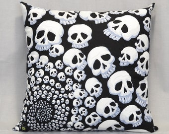 Skull Throw Pillow, 18 Inch Pillow, Goth, Punk Rock, Black and White, Halloween Home, Horror Fan, Infinity Skulls, Hidden Zipper