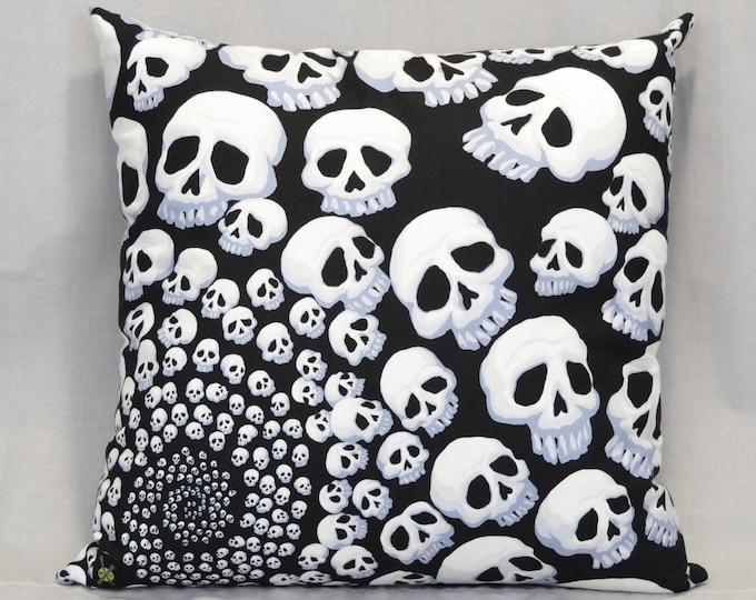 Skull Throw Pillow, 18 Inch Pillow, Goth, Punk Rock, Black and White, Halloween Home, Horror Fan, Infinity Skulls, Hidden Zipper