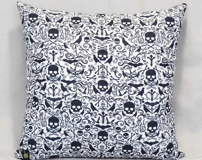 Gothic Throw Pillow, 18 Inch, Skulls, Bats, Goth Punk Home Decor, Black and White, Hidden Zipper