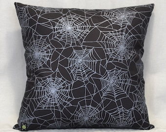 Silver Metallic Spider Webs 18 Inch Throw Pillow, Gothic Home Decor, Halloween Decorative Pillow, Goth, Horror Punk, Shimmer Webs, Black