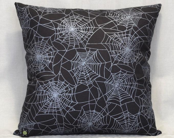Silver Metallic Spider Webs 18 Inch Throw Pillow, Gothic Home Decor, Halloween Decorative Pillow, Goth, Horror Punk, Shimmer Webs, Black