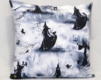 Witch Throw Pillow, 18 Inch, Wicca, Moon Goddess, Witchcraft Occult, Black Cat, Ravens, Black White Gray, Hidden Zipper