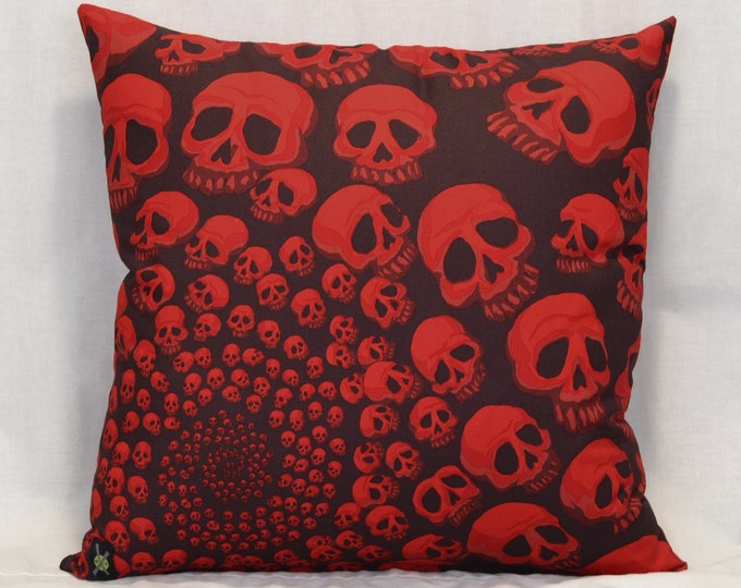 Goth, Punk Rock, Skull Throw Pillow, 18 Inch Pillow, Black and Red, Halloween Home, Horror Fan, Infinity Skulls, Hidden Zipper