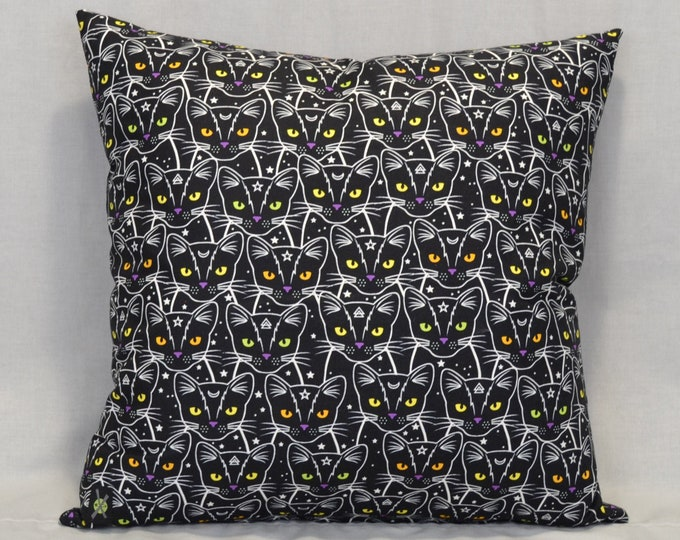 Black Cat 18 Inch Throw Pillow, Cosmic Kitty, Moons Stars, Occult, Glow in the Dark, Halloween Decorative Pillow, Hidden Zipper