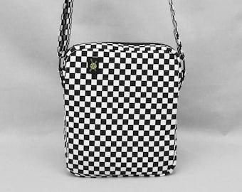 Black and White Checkered Small Crossbody Bag, Fabric Purse, Rude Girl Mod, Zipper Top Closure, Pockets