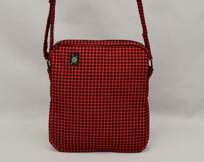 Small Shoulder Bag Zipper Closure, Fabric Crossbody Purse Handbag, Red and Black Houndstooth