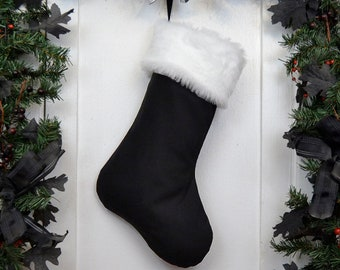 Plain All Black Christmas Stocking with White Fur