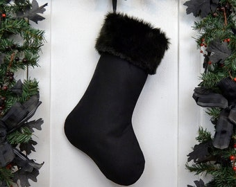 Plain All Black Christmas Stocking with Black Fur