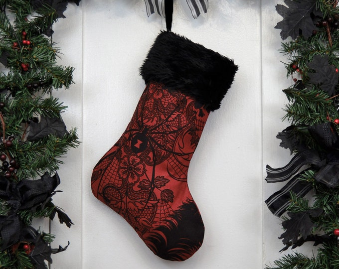 Dark Red Gothic Christmas Stocking Black Widow and Skulls, Black Faux Fur, Black Canvas Liner