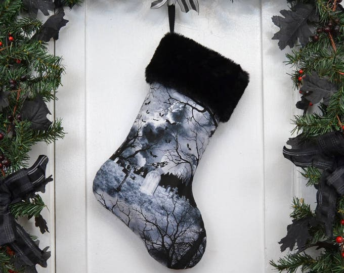 Gothic Graveyard Halloween Christmas Stocking, Black and White, Ravens Bats Tombstones, Spooky Trees, Black Faux Fur, Dark Christmas
