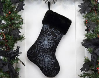Silver Metallic Spider Webs Halloween Christmas Stocking, Goth, Punk Rock, Black and White, Black Faux Fur, Canvas Liner, Dark Christmas