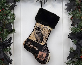 Nevermore Gothic Owl Christmas Stocking, Black Faux Fur, Halloween Decoration, Black Brown Patchwork Print, Black Canvas Liner