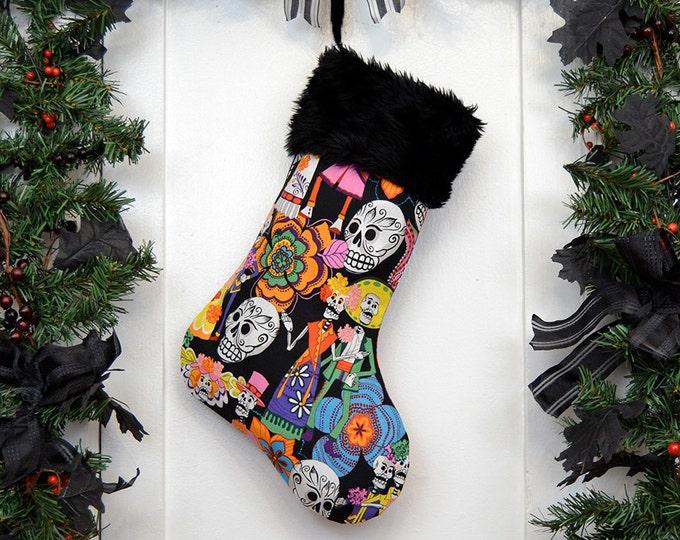 Bright Colorful Day of the Dead Christmas Stocking, Sugar Skulls, Dia de los Muerto, Black Faux Fur, Black Canvas Liner