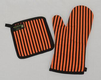 Orange and Black Stripe Oven Mitt and Pot Holder, Sets or Singles