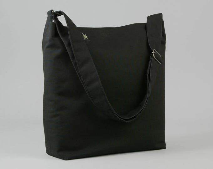 All Black Crossbody Bag, Large Fabric Shoulder Bag with Canvas Liner, Work School Book Bag, Mens Womens, Ready To Ship