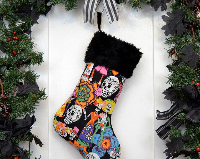 Bright Colorful Day of the Dead Christmas Stocking, Sugar Skulls, Dia de los Muerto, Black Faux Fur, Black Canvas Liner