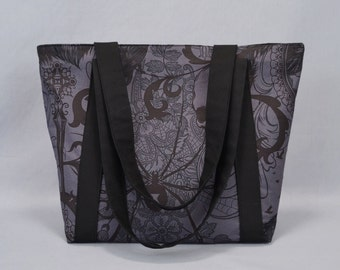Gothic Zippered Tote Bag, Charcoal and Black, Black Widow, Ravens, Skull, Fabric Canvas Tote with Pockets, Goth, Punk, Halloween, Deathrock