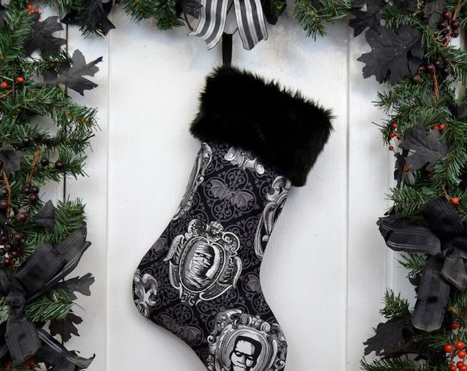 The Mummy Classic Movie Monster Christmas Stocking, Black and White, Black Faux Fur, Bats Damask