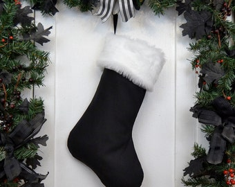 Plain All Black Christmas Stocking with White Fur