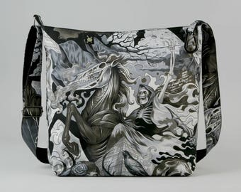 Grim Reaper vs Gothic Sorceress Large Crossbody Bag, with Bats, Fabric Bag, Canvas Liner, Work School Book Bag, Black Gray White