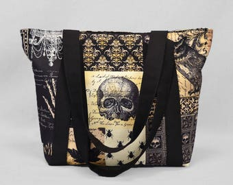 Zipper Tote Bag Nevermore Gothic Antique, Skulls Bats Owls, Black Sepia, Fabric Shoulder Bag with Pockets, Canvas Liner