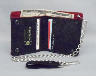 Vegan Chain Wallet Black Marble Swirl, Dark Red Canvas, Fabric Pockets, Detachable Chain, Bifold Wallet