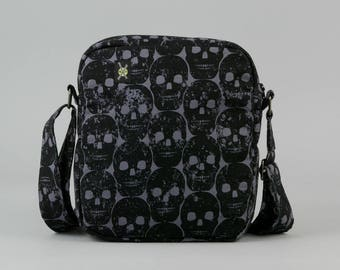 Black Skulls Small Crossbody Bag, Zipper Closure, Womens Mens, Fabric Crossbody with Pockets, Dark Gray