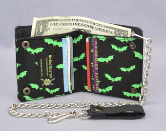 Vegan Chain Wallet Little Green Bats, Black Canvas, Halloween Fabric Pockets, Detachable Chain, Bi-fold Wallet