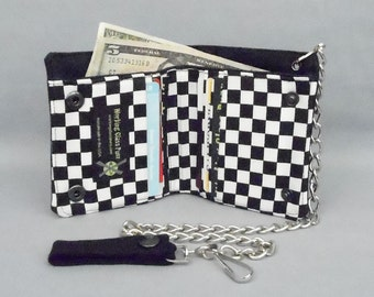 Vegan Chain Wallet Black and White Checkered, Bi-fold Black Canvas, Fabric Pockets, Detachable Chain
