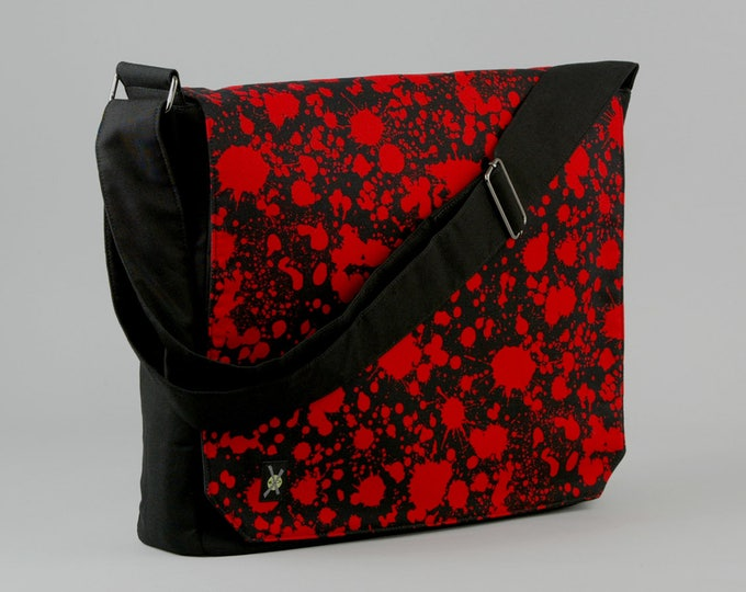 Blood Splatter Large Black Canvas Messenger Bag, 13 - 15 Inch Laptop, Tablet Phone Zipper Pockets, Horror Punk, Psychobilly