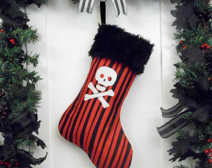Punk Goth Pirate Christmas Stocking Red and Black Stripe with Skull and Crossbones