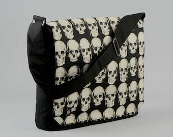 Skulls Large Black Canvas Messenger Bag, 13 - 15 Inch Laptop, Realistic Skulls, Tablet Phone Zipper Pockets