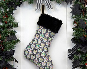 Sugar Skulls Christmas Stocking, Colorful Skulls, Dark Gray, Black Faux Fur, Dia de los Muertos, Black Canvas Liner, Day of the Dead Decor
