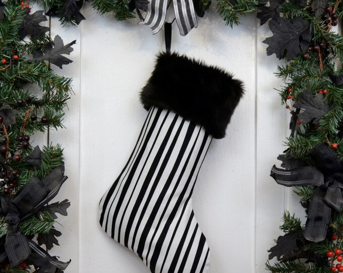 Black and White Pirate Stripe Christmas Stocking, Black Faux Fur, Ska Two Tone, Vertical Stripe