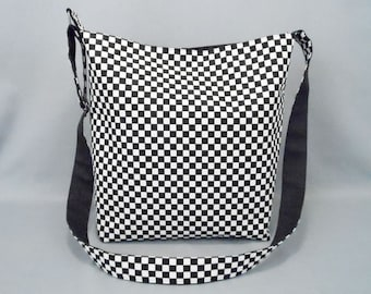 Black and White Checkered Large Crossbody Bag, School Work Book Fabric Bag with Canvas Liner