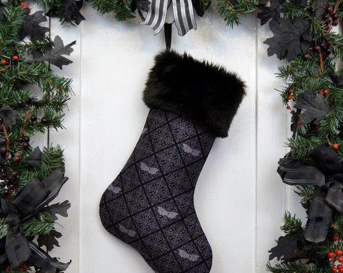 Gothic Bats Damask Halloween Christmas Stocking, Black and Gray, Victorian Goth, Black Faux Fur, Punk Rock, Dark Christmas