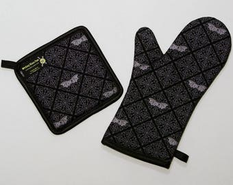 Gothic Bats Damask Oven Mitt and Pot Holder, Sets and Singles, Black and Gray, Victorian Bats