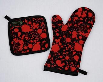 Blood Splatter Oven Mitt and Pot Holder, Red Black, Sets and Singles