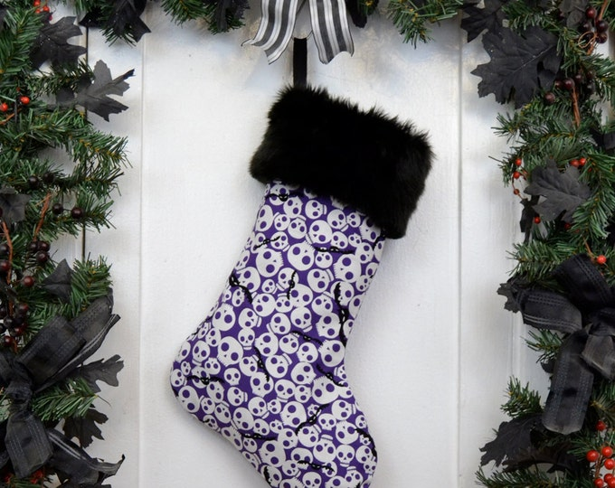 Spooky Cute Skulls and Bats Purple Christmas Stocking, Black Faux Fur, Halloween Decoration, Black Canvas Liner, Punk Rock Goth Kids