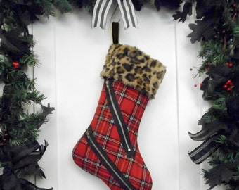 Punk Christmas Stocking, Red and Black Plaid Bondage Pants Style, Brown Leopard Faux Fur, Black Faux Fur Canvas Liner, Red Tartan