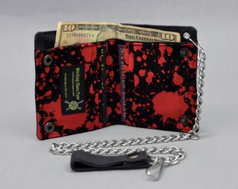 Vegan Chain Wallet Blood Splatter, Horror Wallet, Black Canvas, Goth Punk, Halloween, Red and Black, Fabric Pockets, Detachable Chain