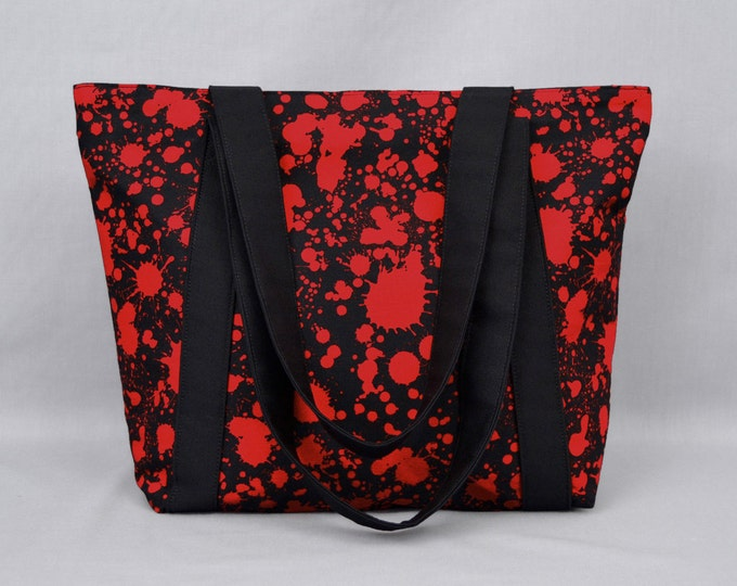 Halloween Blood Splatter Tote Bag with Zipper and Pockets