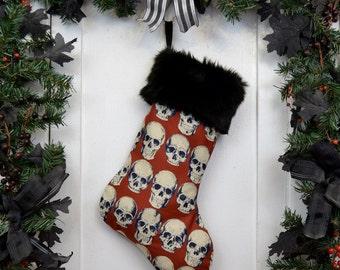 Goth Punk Christmas Stocking Realistic Anatomical Skulls, Rust Red, Halloween Decoration, Black Faux Fur, Horror Fan, Black Canvas Liner