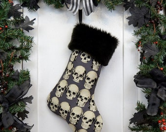Goth Punk Halloween Christmas Stocking Realistic Anatomical Skulls, Gray Background, Black Faux Fur, Black Canvas Liner, Dark Christmas