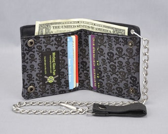Skull and Crossbones Vegan Chain Wallet, Black and Gray, Black Canvas, Fabric Pockets, Punk Pirate, Skater, Goth, Guys Girls, Tomboy