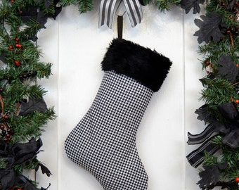 Black and White Houndstooth Christmas Stocking, Black Faux Fur, Black Canvas Liner