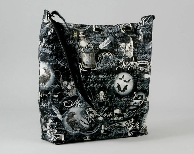 Gothic Skulls Large Crossbody Bag, Ravens Bats Spiders, Fabric Bag with Canvas Liner, Black and White