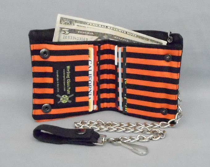 Halloween Vegan Chain Wallet, Black and Orange Stripe, Black Canvas, Detachable Chain, Fabric Pockets, Bi-fold Wallet