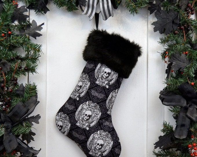 Gothic Skull Damask Christmas Stocking, Black and White, Bats Damask, Black Faux Fur